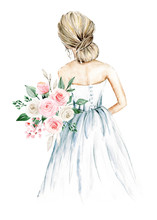 Bride, Wedding Illustration, Watercolor Painting Sketch Isolated On White Background.
