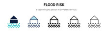 Flood Risk Icon In Filled, Thi...