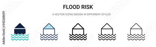 Fotografie, Tablou Flood risk icon in filled, thin line, outline and stroke style