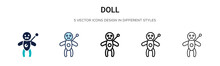 Doll Icon In Filled, Thin Line...
