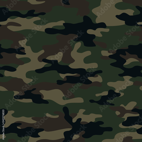 Green camouflage seamless army background Canvas Print