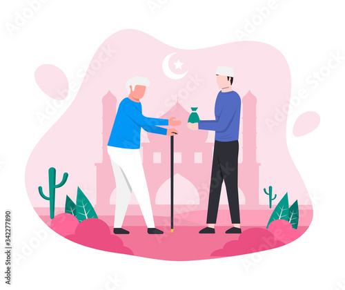 Muslim man giving alms or zakat to old man in the month of ramadan concept Canvas Print