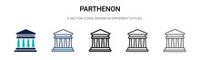 Parthenon Icon In Filled, Thin Line, Outline And Stroke Style. Vector Illustration Of Two Colored And Black Parthenon Vector Icons Designs Can Be Used For Mobile, Ui, Web