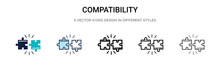 Compatibility Icon In Filled, Thin Line, Outline And Stroke Style. Vector Illustration Of Two Colored And Black Compatibility Vector Icons Designs Can Be Used For Mobile, Ui, Web