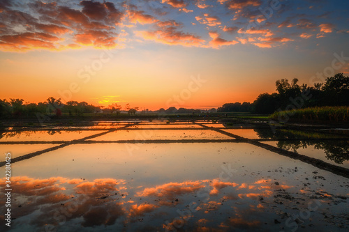 Scenic View Of Lake At Sunset #342280625