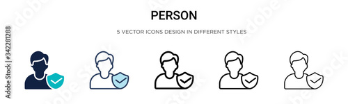Fotografie, Obraz Person icon in filled, thin line, outline and stroke style