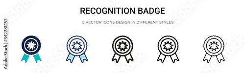 Recognition badge icon in filled, thin line, outline and stroke style Wallpaper Mural