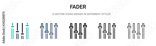 Slika na platnu Fader icon in filled, thin line, outline and stroke style