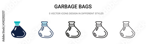 Garbage bags icon in filled, thin line, outline and stroke style Canvas Print