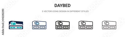 Daybed icon in filled, thin line, outline and stroke style Wallpaper Mural