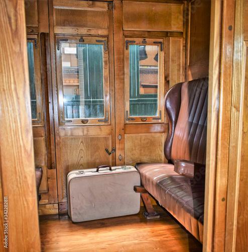 Photo Interior vagon de madera antiguo