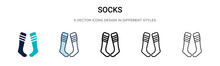 Socks Icon In Filled, Thin Lin...