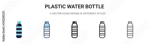 Photo Plastic water bottle icon in filled, thin line, outline and stroke style