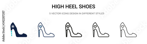 Obraz High heel shoes icon in filled, thin line, outline and stroke style. Vector illustration of two colored and black high heel shoes vector icons designs can be used for mobile, ui, web - fototapety do salonu