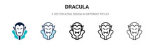 Dracula Icon In Filled, Thin Line, Outline And Stroke Style. Vector Illustration Of Two Colored And Black Dracula Vector Icons Designs Can Be Used For Mobile, Ui, Web