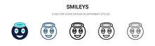 Smileys Icon In Filled, Thin L...