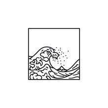 Great Wave Off Kanagawa After Hokusai Vector Line Icon