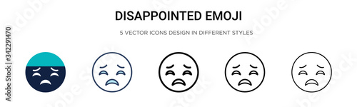 Fotografie, Tablou Disappointed emoji icon in filled, thin line, outline and stroke style