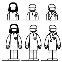 Hospital Staff, Doctor And Nurse, Vector Black White Transparent