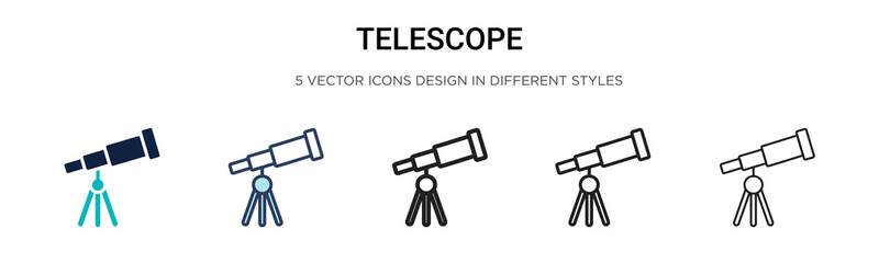 Telescope icon in filled, thin line, outline and stroke style. Vector illustration of two colored and black telescope vector icons designs can be used for mobile, ui, web