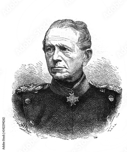 Portrait of Austrian Commander-in-Chief Moltke in the old book The Essays in Newest History, by I Fotobehang