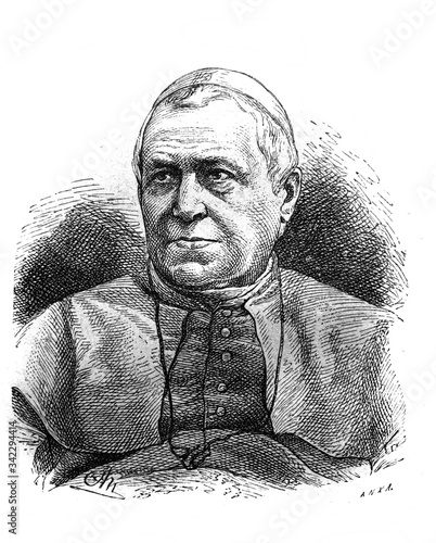 Portrait of the Pope Blessed Pius IX in the old book The Essays in Newest History, by I.I. Grigorovich, 1883, St. Petersburg Fotomurales