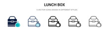 Lunch Box Icon In Filled, Thin Line, Outline And Stroke Style. Vector Illustration Of Two Colored And Black Lunch Box Vector Icons Designs Can Be Used For Mobile, Ui, Web