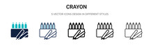 Crayon Icon In Filled, Thin Li...