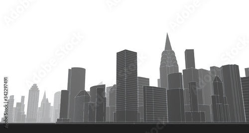 Fotomural city metropolis architectural landscape 3d illustration