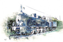 Old Steam Locomotive Engine Re...