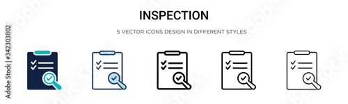 Fotografie, Tablou Inspection icon in filled, thin line, outline and stroke style