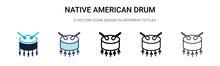 Native American Drum Icon In F...