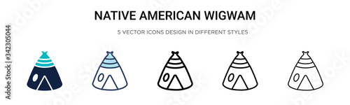 Native american wigwam icon in filled, thin line, outline and stroke style Fotobehang