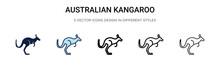 Australian Kangaroo Icon In Fi...