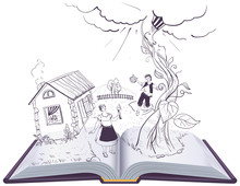 Jack And The Beanstalk Open Book Illustration English Fairy Tale