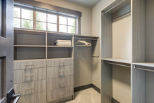 Natural New Classic Slick Walk In Closet Room  Interior With New Grey Wood Shelves.