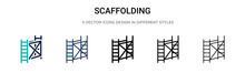 Scaffolding Icon In Filled, Thin Line, Outline And Stroke Style. Vector Illustration Of Two Colored And Black Scaffolding Vector Icons Designs Can Be Used For Mobile, Ui, Web