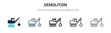 Demolition Icon In Filled, Thi...