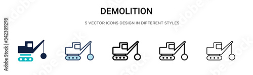 Demolition icon in filled, thin line, outline and stroke style Wallpaper Mural