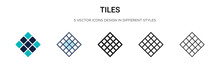 Tiles Icon In Filled, Thin Lin...