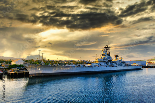 Leinwand Poster LOS ANGELES, CALIFORNIA - November 11, 2019: USS Iowa is a battleship, Iowa was the only ship of her class to have served in the Atlantic Ocean during World War II