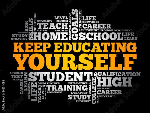 Keep Educating Yourself word cloud collage, education business concept backgroun Wallpaper Mural