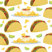 Seamless Pattern Of Mexican Traditional Food - Taco And Nachos With Sauce, Snack For A Party, Chips With Tortilla. Vector