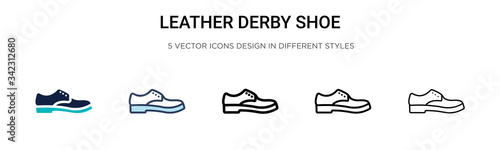 Foto Leather derby shoe icon in filled, thin line, outline and stroke style