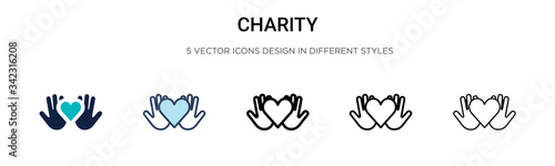 Foto Charity icon in filled, thin line, outline and stroke style
