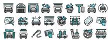 Car Wash Icons Set. Outline Se...