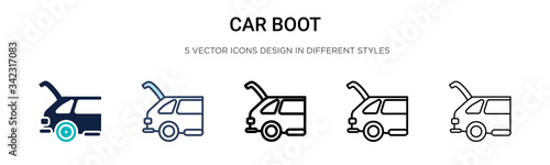 Car boot icon in filled, thin line, outline and stroke style Fototapet