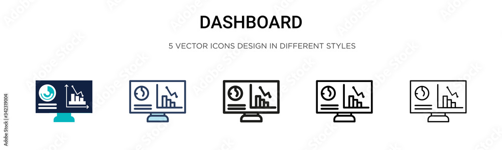 Fototapeta Dashboard icon in filled, thin line, outline and stroke style. Vector illustration of two colored and black dashboard vector icons designs can be used for mobile, ui, web