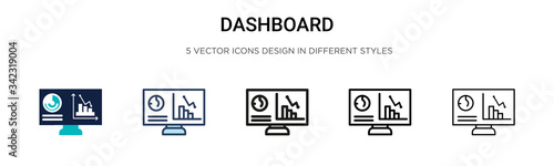 Fototapeta Dashboard icon in filled, thin line, outline and stroke style. Vector illustration of two colored and black dashboard vector icons designs can be used for mobile, ui, web obraz