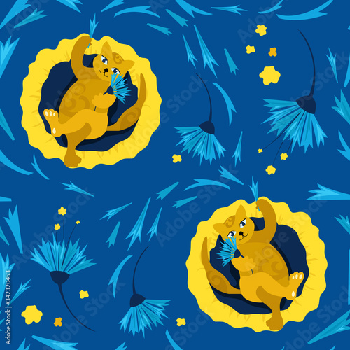 Seamless pattern with cat on a pillow. Fortune telling on the flower petals of a cornflower. Concept of home comfort. Vector illustration. Design of children's products, background, cover, wallpaper.